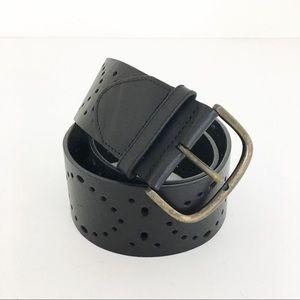 CAbi black tooled leather belt Size medium